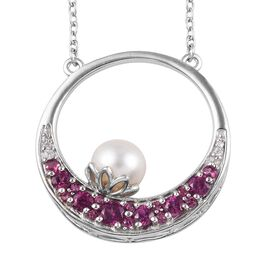 GP - Freshwater Pearl (Rnd), Rhodolite Garnet, Blue Sapphire and Natural White Cambodian Zircon Neck