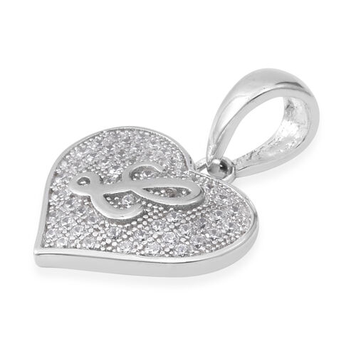 ELANZA Simulated Diamond (Rnd) Heart with Alphabet L Pendant in Rhodium Overlay Sterling Silver