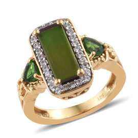 AA Canadian Ammolite (Rct 12x5mm), Russian Diopside and Natural Cambodian Zircon Ring in Yellow Gold