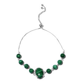 One Time Deal- Malachite (Ovl 14x10mm) Adjustable Bracelet (Size 6.5-9.5mm) in Sterling Silver 20.50 Ct.