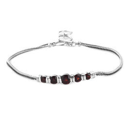 Mozambique Garnet Bracelet (Size 8 with Extender) in Sterling Silver 2.75 Ct, Silver wt 7.00 Gms