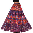 100% Cotton Mandala Print Boho Long Skirt with Tassels (Size 101.5x94cm) - Blue & Orange