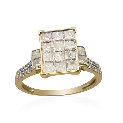 New York Close Out 1 Ct Princess Cut Diamond Cluster Ring in 14K Gold 2.20 Grams