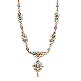 Arizona Sleeping Beauty Turquoise and Natural Cambodian Zircon Enamelled Necklace (Size - 18 with 2