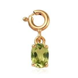 Hebei Peridot (Ovl 7x5) Charm in Platinum Overlay Sterling Silver 0.750 Ct.