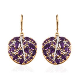7.25 Ct Amethyst Leaf Cluster Earrings in Gold Plated Sterling Silver 11.94 Grams With Lever Back