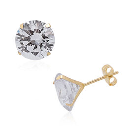 One Time Close Out Deal- 9K Yellow Gold AAA Simulated Diamond (Rnd 8 mm) Stud Earrings (with Push Ba