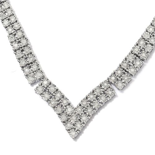 GP Diamond (Rnd), Blue Sapphire Necklace (Size 18) in Platinum Overlay Sterling Silver 2.02 Ct, Silver wt 28.00 Gms