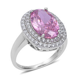 ELANZA Simulated Pink Sapphire and Simulated Diamond Halo Ring in Sterling Silver 5.69 Grams
