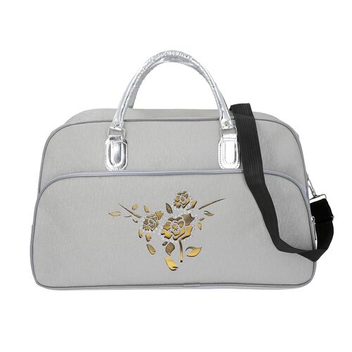 Flower Pattern Travel Bag with Detachable Shoulder Strap and Zipper Closure (Size 52x20x34 Cm) - Whi