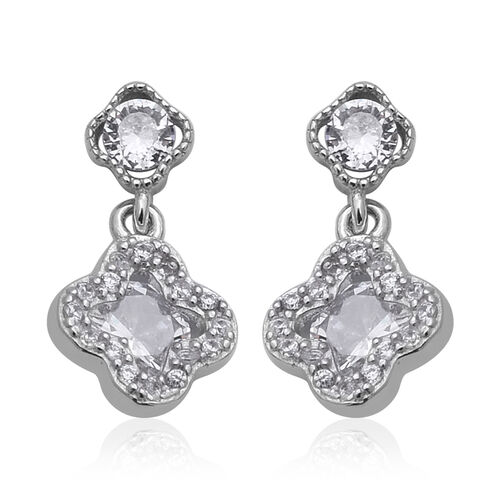 ELANZA Simulated Diamond (Rnd) Earrings (with Push Back) in Rhodium Overlay Sterling Silver