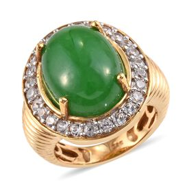 12.75 Ct Green Jade and Zircon Halo Ring in Gold Plated Sterling Silver 6.30 Grams