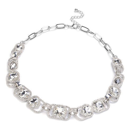 White Austrian Crystal and Simulated Diamond Necklace (Size 19.5) in Silver Tone
