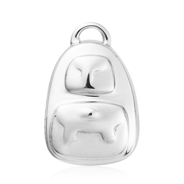 Charmes De Memoire - Platinum Overlay Sterling Silver School Bag Charm, Silver wt 3.00 Gms