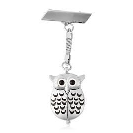 STRADA Japanese Movement Water Resistant Owl Shaped Pocket Watch in Silver Tone