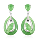 23.45 Ct Green Jade and Simulated Diamond Magpie Bird Drop Earrings in Rhodium Plated Silver