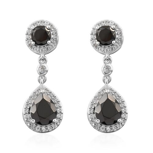 5.58 Ct Elite Shungite and Zircon Drop Earrings in Platinum Plated Silver 5.23 Grams