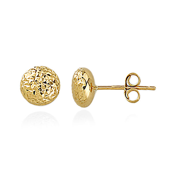 JCK Vegas  Collection 9K Yellow Gold Diamond Cut Ball Stud Earrings (with Push Back)