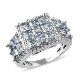 2.91 Ct Espirito Santo Aquamarine and Zircon Cluster Ring in Platinum Plated Silver