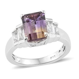 Natural Anahi Ametrine (Oct), Natural White Cambodian Zircon Ring in Platinum Overlay Sterling Silve