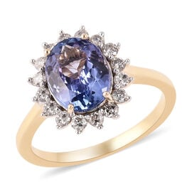 2.30 Ct Tanzanite and Diamond Halo Ring in 9K Gold