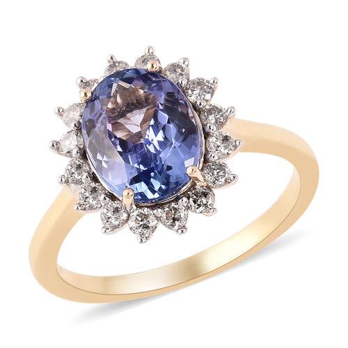2.30 Ct Tanzanite and Diamond Halo Ring in 9K Gold