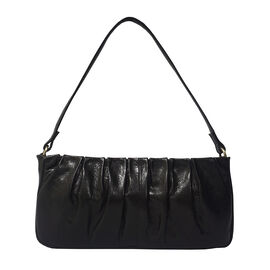 ASSOTS LONDONIvy Genuine Leather Pleated Shoulder Bag - Black