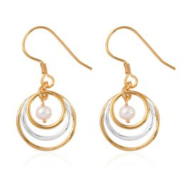 Freshwater Pearl Three Hoop Earrings in Platinum and Yellow Gold Overlay Sterling Silver