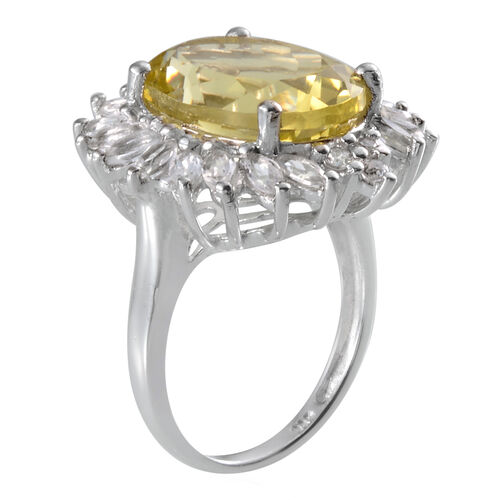 Brazilian Green Gold Quartz (Ovl 8.00 Ct), White Topaz Ring in Platinum Overlay Sterling Silver 10.000 Ct.