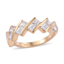 J Francis - 14K Gold Overlay Sterling Silver (Sqr 3.0 mm) Ring Made with SWAROVSKI ZIRCONIA
