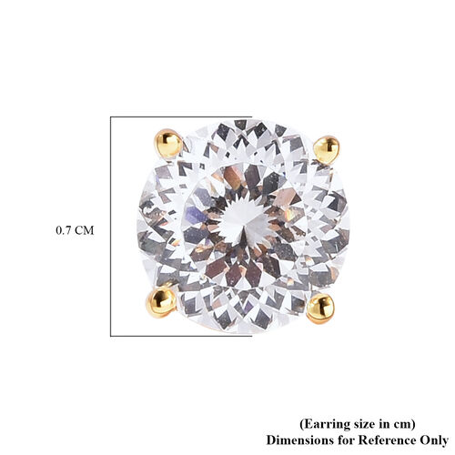 TJC Launch- AAAA Radiant Cut Simulated Diamond Stud Earrings (with Push Back) in Yellow Gold Overlay Sterling Silver