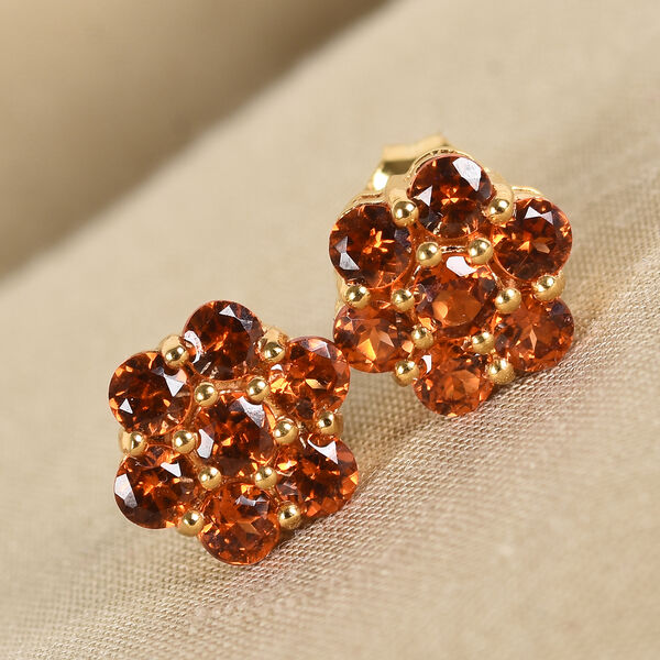 Hessonite Garnet Floral Stud Earrings (with Push Bcak) in 14K Gold Overlay Sterling Silver