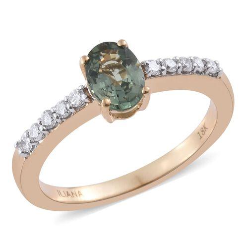 ILIANA 18K Yellow Gold AAA Green Sapphire (Ovl), Diamond (SI-GH) Ring 1.100 Ct.