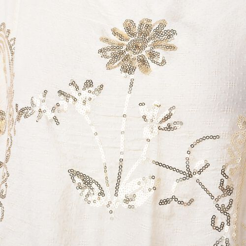 New Season- Cream Colour Daisy Flower and Paisley Pattern Poncho with Sequins (Size 90x70 Cm)