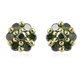 Green Diamond (Rnd) Stud Earrings (with Push Back) in Green and Platinum Overlay Sterling Silver 0.200 Ct.