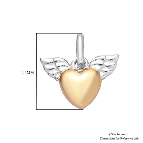 Platinum and Yellow Gold Overlay Sterling Silver Angel Wing Heart Charm