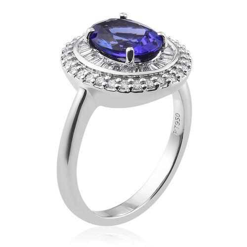 RHAPSODY  950 Platinum AAAA Tanzanite and Diamond (VS/E-F) Ring 2.75 Ct, Platinum wt. 6.61 Gms
