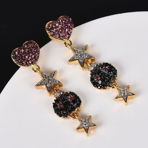 GP - Orissa Rose Garnet, Boi Ploi Black Spinel and Natural Cambodian Zircon Heart, Star and Ladybug Dangle Earrings (with Push Back) in 14K Gold Overlay Sterling Silver 2.15 Ct.