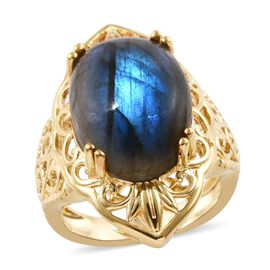Labradorite (Ovl 16x12 mm) Ring in 18K Yellow Gold Plated 10.50 Ct.