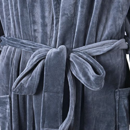 Luxury Edition - Super Soft Silk Touch Dressing Gown in Dark Grey Colour (Size 120 Cm)