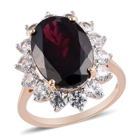 9K Yellow Gold Rhodolite Garnet and Natural Cambodian Zircon Halo Ring 10.75 Ct.