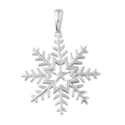 Platinum Overlay Sterling Silver Snowflake Pendant, Silver wt 4.08 Gms.