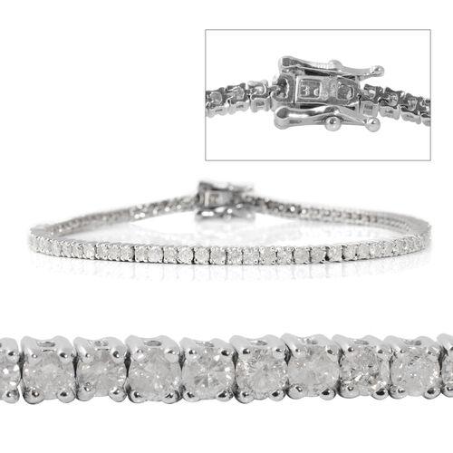 14K White Gold EGL Certified Diamond (Rnd) (I2/G-H) Tennis Bracelet (Size 7.25) 3.01 Ct, Gold wt 7.80 Gms