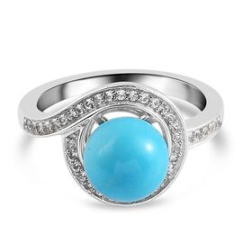 Arizona Sleeping Beauty Turquoise and Natural Cambodian Zircon Ring in Platinum Overlay Sterling Silver 4.09 Ct.