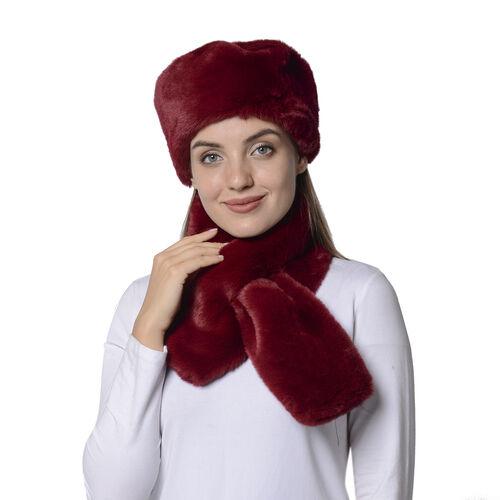 2 Piece Set - Solid Burgundy Red Colour Faux Fur Hat (59x18cm) and Scarf (14x88cm)