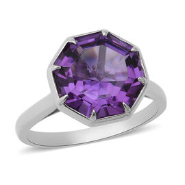 OCTILLION CUT Lusaka Amethyst Solitaire Ring in Rhodium Overlay Sterling Silver 6.45 Ct.