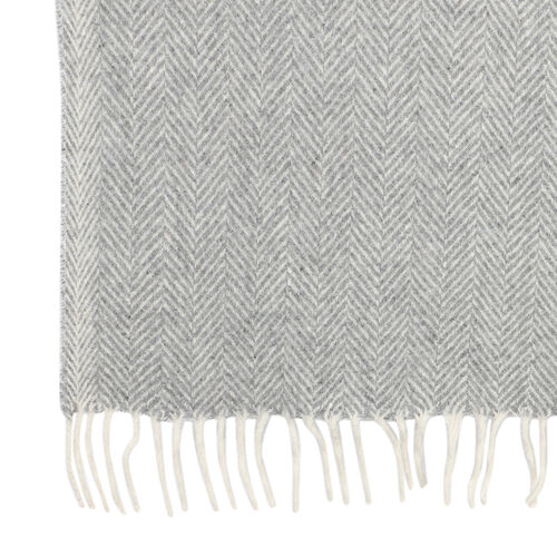 New Arrival- 2 Piece Set - Herringbone Pattern Wool Throw Blanket with Fringe (Size 135x170cm) and Cushion Cover with Zipper Closure and Flap Over (43x43cm) - Grey