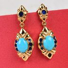 Arizona Sleeping Beauty Turquoise Enamelled Earrings (with Push Back) in 14K Gold Overlay Sterling Silver 2.00 Ct, Silver wt 7.49 Gms