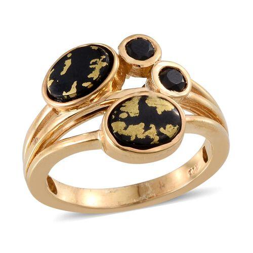 Goldenite (Ovl 1.75 Ct), Boi Ploi Black Spinel Ring in 14K Gold Overlay Sterling Silver 2.250 Ct.