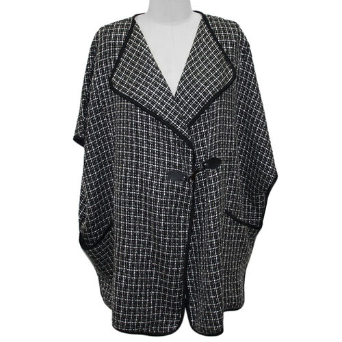 SUGAR CRISP Throw on Cape Jacket (Size S/M) - Black and White